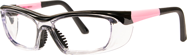 Prescription Safety Glasses - HiDX A006 (SM) (Gloss Black/Pink/Clear) - side view