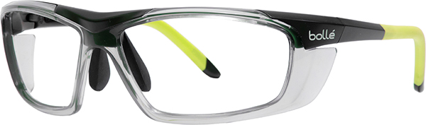 Prescription Safety Glasses - Bollé Harper (Black/Green) - side view