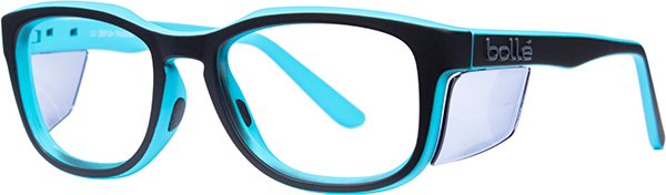 Prescription Safety Glasses - Bollé Spicy (Matte Black/Blue) - side view