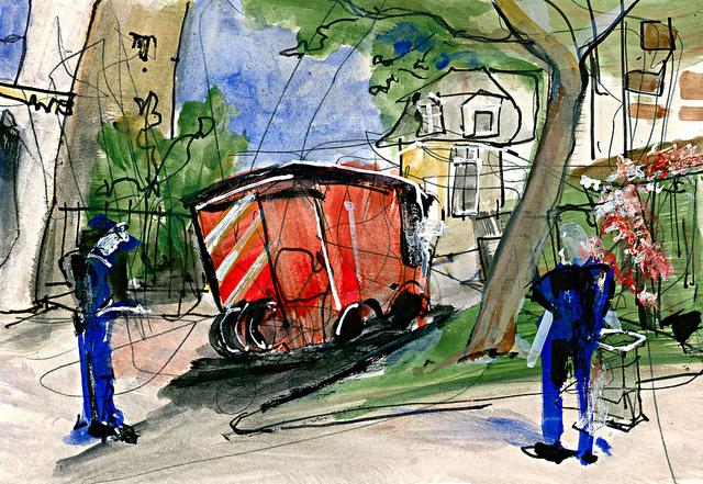Fontenay-sous-Bois, les pompiers vendent des billets de tombola pour le bal du 14 juillet © Frédéric Glorieux