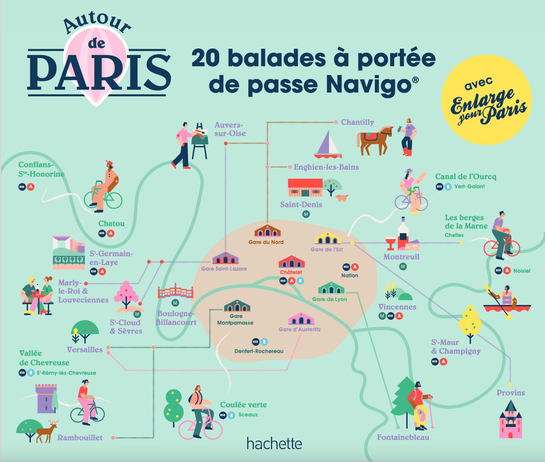 """Les destinations du guide """"Autour de Paris, 20 balades à portée de passe Navigo"""" / © Hachette"""