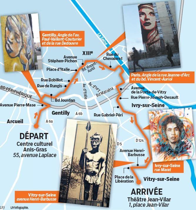 Tracé du GR Street art / © Le Parisien