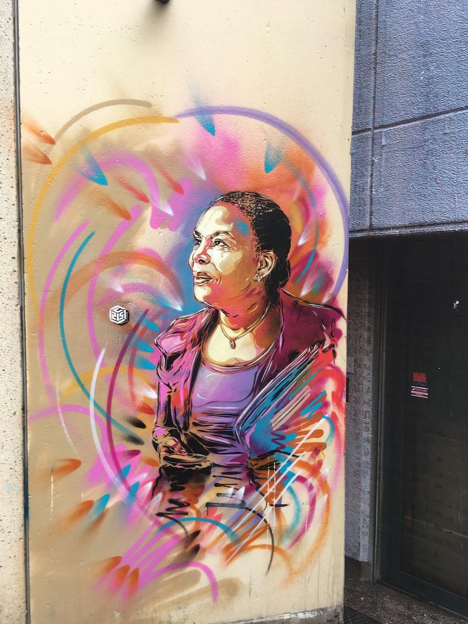 Christiane Taubira par C215, 35 rue Clément Perrot, Vitry / © Julie Gourhant