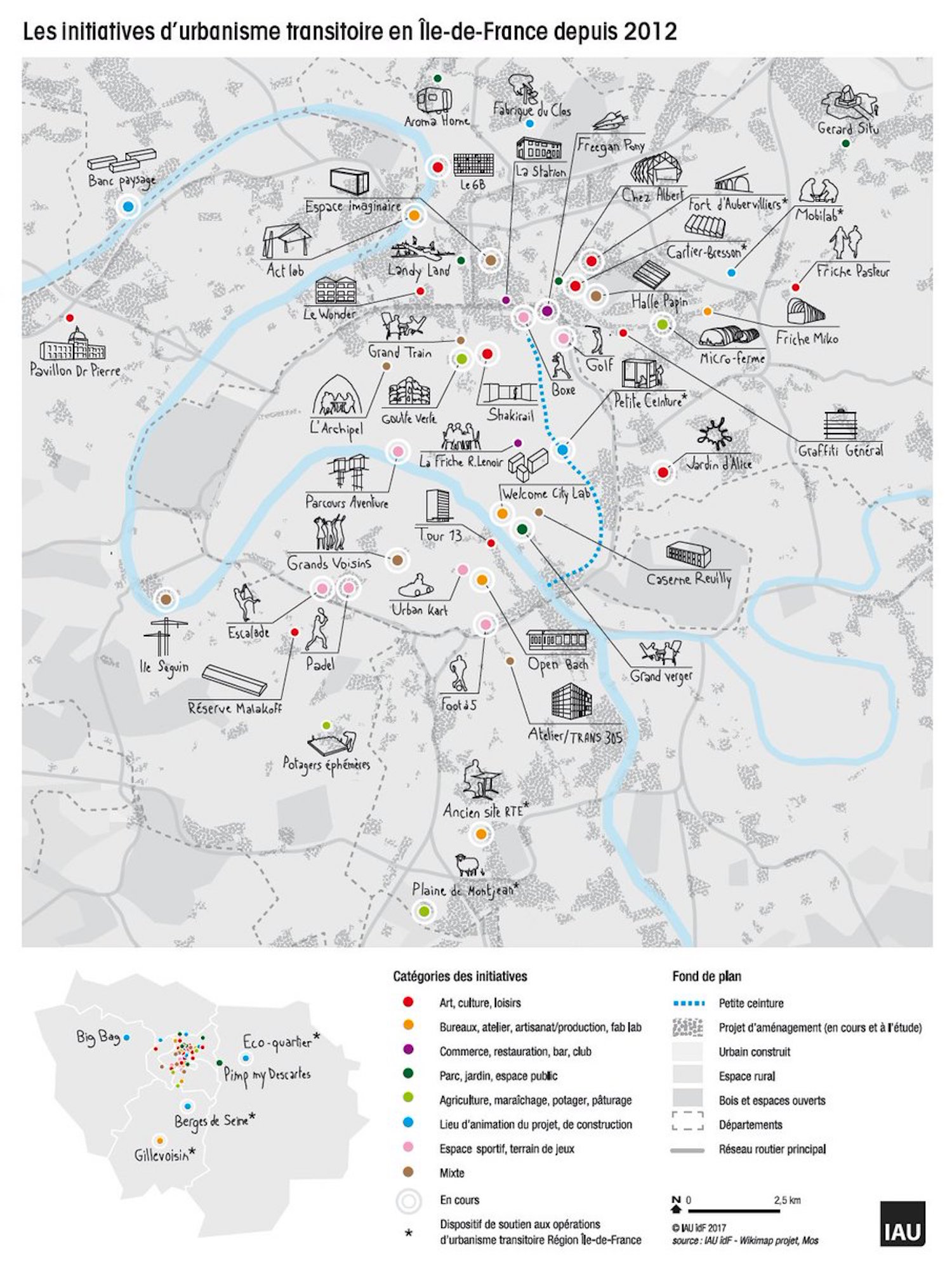 Carte de l'urbanisme transitoire dans le Grand Paris / ©  IAU