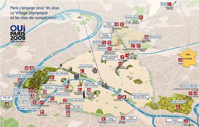 Plan des sites pour la candidature de Paris aux Jeux olympiques de 2008 / DR