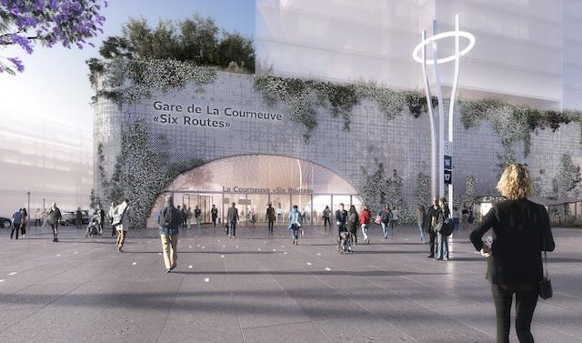 Gare de La Courneuve Six routes / © Société du Grand Paris -  Agence Chartier Dalix