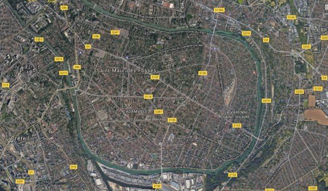 Vue aérienne de Saint-Maur-des-Fossés / © Google