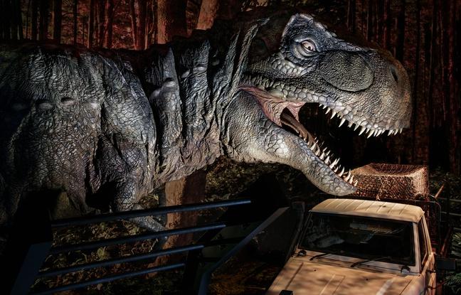 """Le T-Rex de l'exposition  """"Jurassic World"""" à la Cité du cinéma à Saint-Denis © Universal Studios et Amblin"""