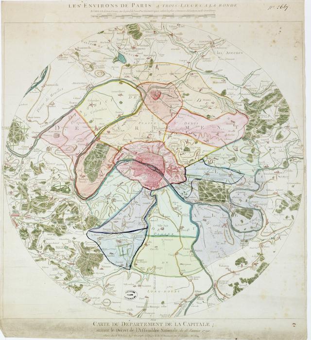 """Carte des """"Environs de Paris"""" trois lieues à la ronde / © IAU"""