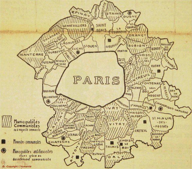 La carte publiée par L'Humanité le 14 mai 1935 au lendemain des élections municipales / DR