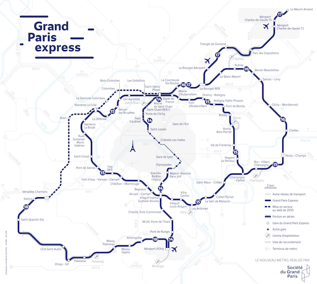 La carte du futur réseau du Grand Paris Express / © Société du Grand Paris