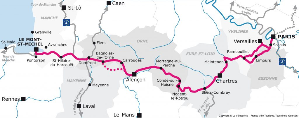 Tracé de la Véloscénie Paris - Le Mont-Saint-Michel / DR