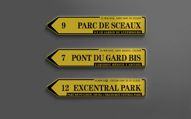 Panneaux de signalisation métropolitains / © Enlarge your Paris & Les Magasins généraux - Design : Benoît Robert