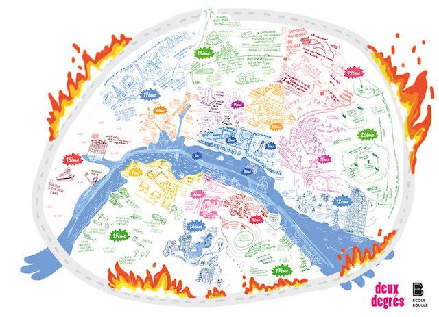 Carte de Paris 2050 / ©  Deux degrés - Ecole Boulle