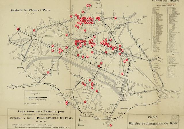 Le plan des plaisirs et attractions de Paris en 1909 / Ecole polytechnique fédérale de Lausanne - Gallica BnF