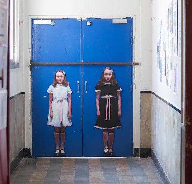 Oeuvre de Sandrine Rondard dans le cadre de la Biennale de Gentilly, à l'ancien collège Pierre-Curie  / © Biennale Gentilly