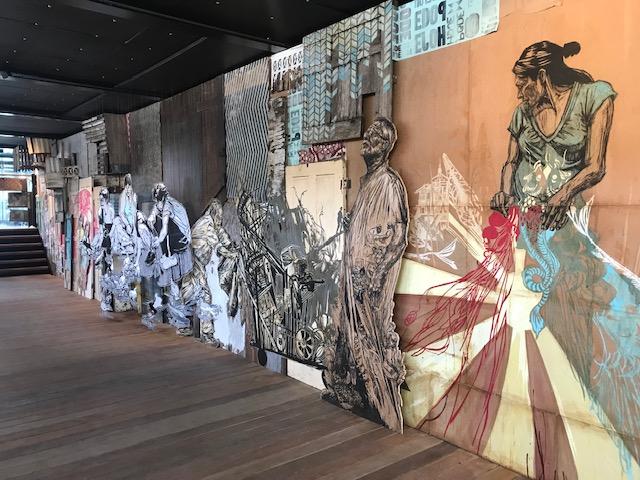 Les oeuvres de Swoon dans la cale du Fluctuart / © Steve Stillman pour Enlarge your Paris