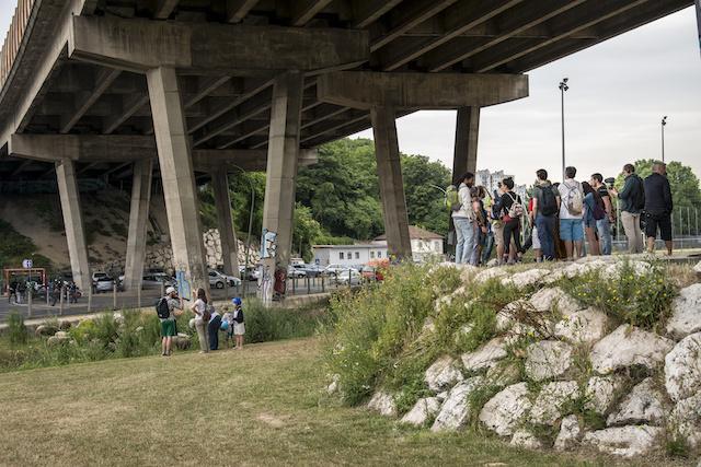 Le coffrage de la Bièvre sous le viaduc de l'A6 au parc du Coteau à Arcueil. La rivière doit être réouverte d'ici à 2022 / © Jérômine Derigny