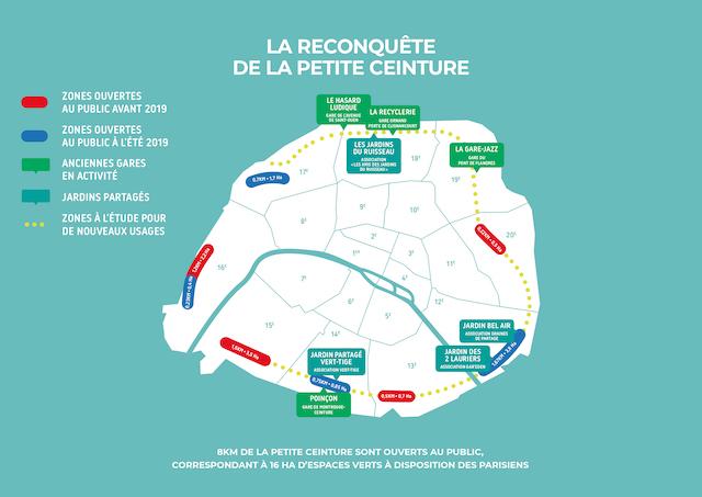 La carte des tronçons ouverts sur la Petite Ceinture / © Ville de Paris