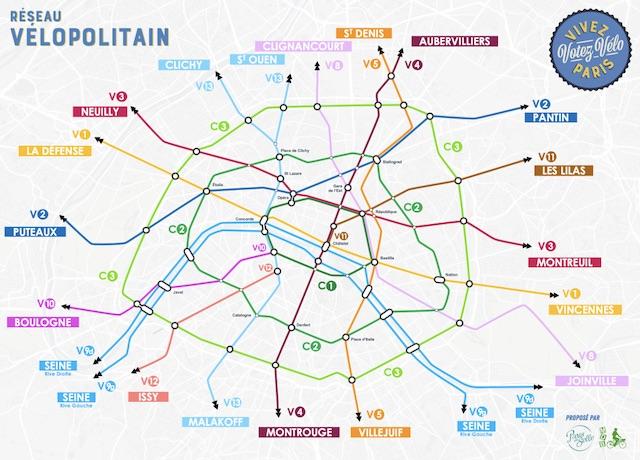 Le projet de réseau Vélopolitain porté par Paris en selle et Mieux se déplacer à bicyclette / © Paris en selle et MBDIDF