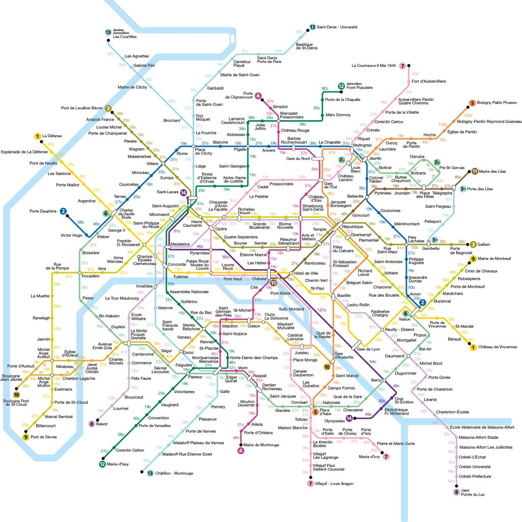 La carte du métro pour calculer les calories perdues entre chaque station / © Treated