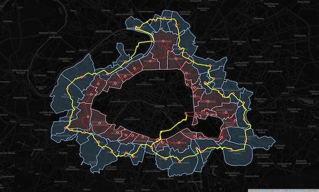 La carte des parcours : en rouge celui de 2019, en jaune celui de 2020 / © Sylvain Lafay