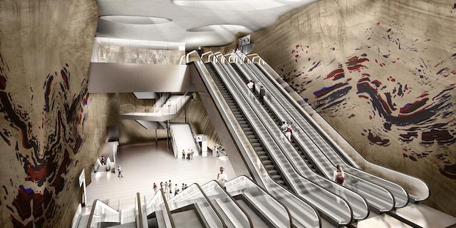 """Oeuvre d'Abdelkader Benchamma pour la gare du Grand Paris Express """"Vitry Centre"""" dessinée par l'architecte Frédéric Neau / © SGP/DR"""