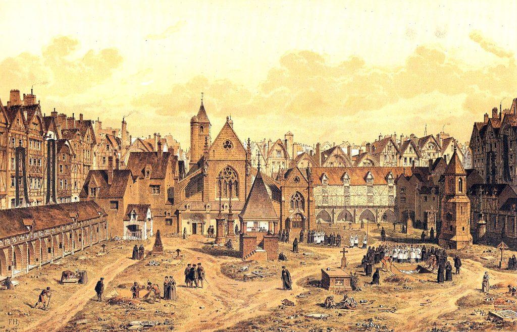 Le cimetière des Saints Innocents à Paris déménagé en périphérie au XVIIIe siècle / © Gravure de Theodor Josef Hubert Hoffbauer