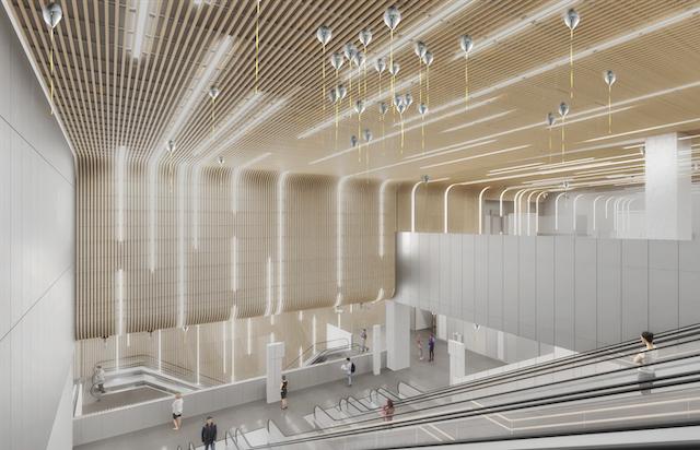 Oeuvre de Jeppe Hein pour la gare du Bourget RER conçue par Elizabeth de Portzamparc / © SGP/DR