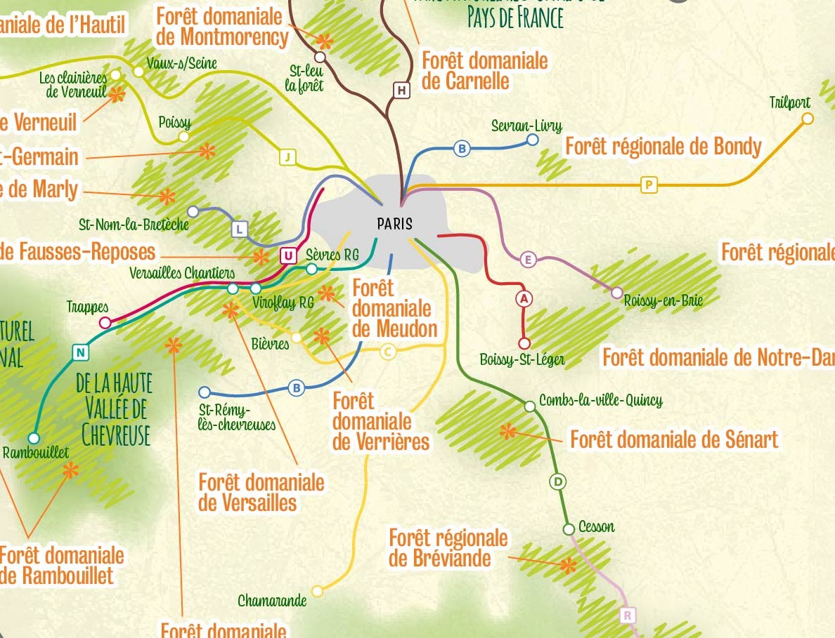 La carte des forêts d'Île-de-France accessibles en transports en commun / © Adèle Raby pour Enlarge your Paris