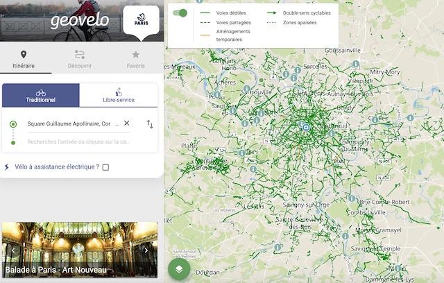 L'appli Geovelo permet de calculer des itinéraires à vélo / DR