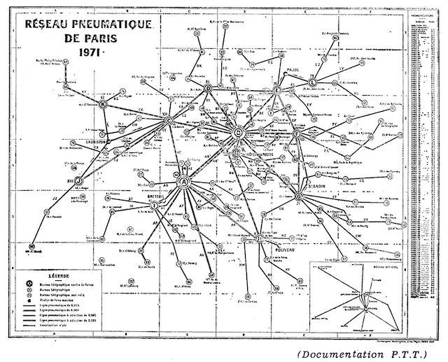 Le réseau pneumatique postal en 1971 à Paris / © Wikimedia Commons