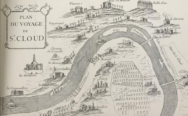 """Gravure tirée du livre """"Voyage de Paris à Saint-Cloud par mer et retour de Saint-Cloud à Paris par terre"""" / © BnF - Gallica"""