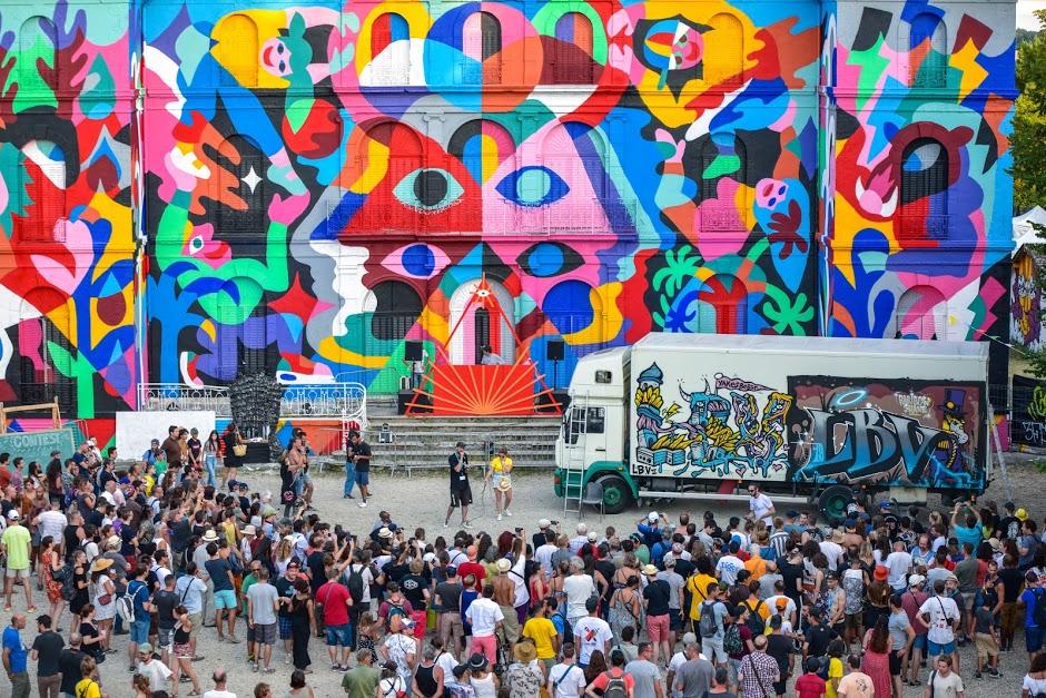 Le festival d'art urbain LaBel Valette à Pressigny-les-Pins / © Fabe Collage