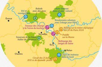 La carte de la microaventure dans le Grand Paris
