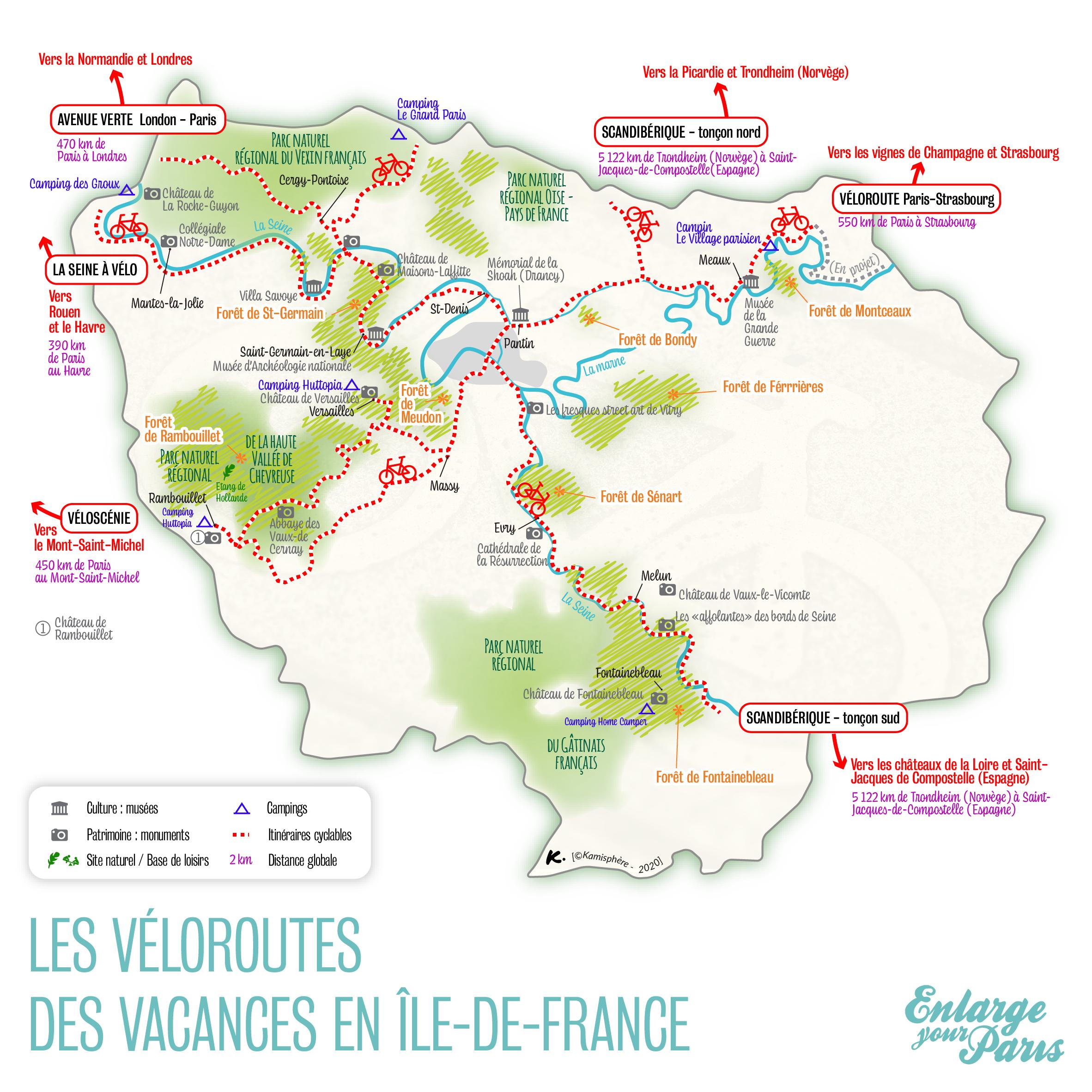 La carte des véloroutes en Île-de-France / © Adèle Raby pour Enlarge your Paris