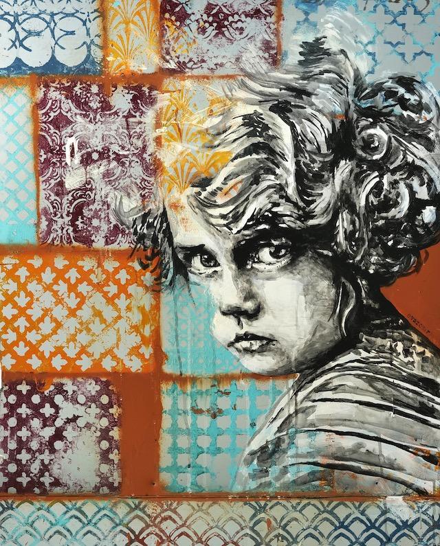 """Oeuvre des artistes EvazéSir, """"L'incrédule"""", réalisée sur l'un des scellés en métal de Mains d'Oeuvres / © Romain ValléeArtiste du Mur93"""