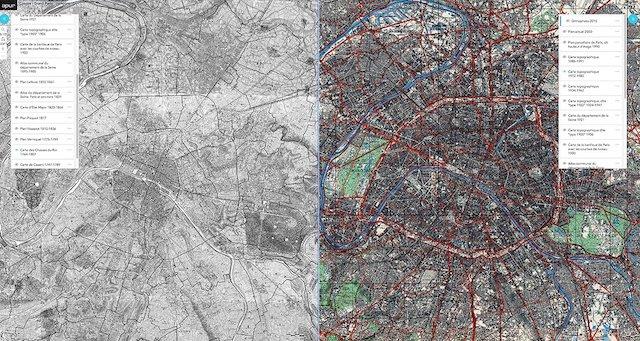 L'Atelier parisien d'urbanisme propose une appli pour comparer les cartes de Paris entre le XVIIIe et XXIe siècle / © Apur