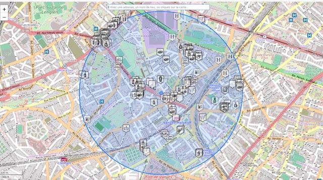 La carte des commerces ouverts pendant le confinement établie par le twitto @cq94 / © @cq94