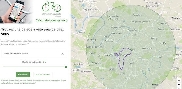Développé par l'appli Geovelo, dansmonrayon.fr permet de calculer des balades à vélo dans un rayon de 20  kilomètres autour de chez soi / © Geovelo