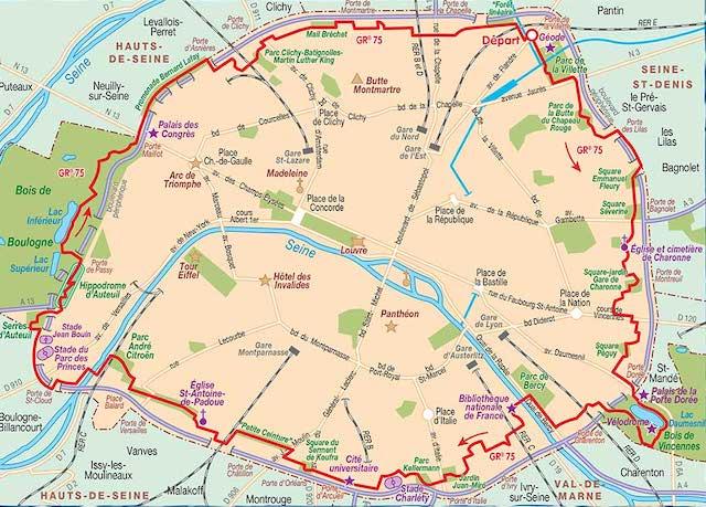 """Le tracé du GR 75, """"Le tour de Paris à pied"""" / © Fédération française de la randonnée pédestre"""