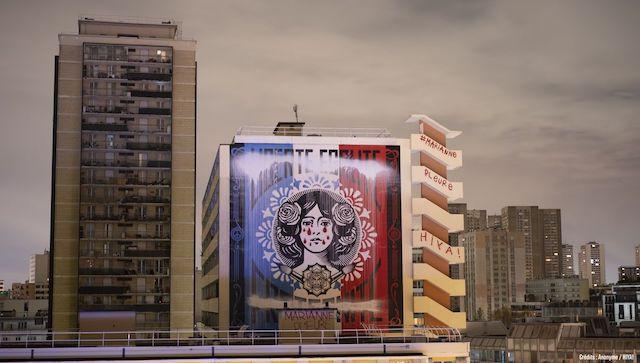 La fresque représentant Marianne dans le 13e arrondissement a été détournée par un collectif d'artistes dans la nuit de dimanche à lundi 14 décembre / © Hiya