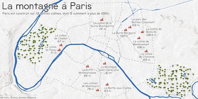 Les collines de Paris / © Les Artisans Cartographes