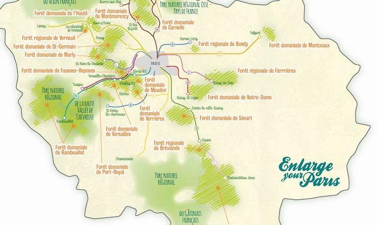 La carte des forêts d'Île-de-France accessibles en train réalisée par Enlarge your Paris / © Adèle Raby pour Enlarge your Paris