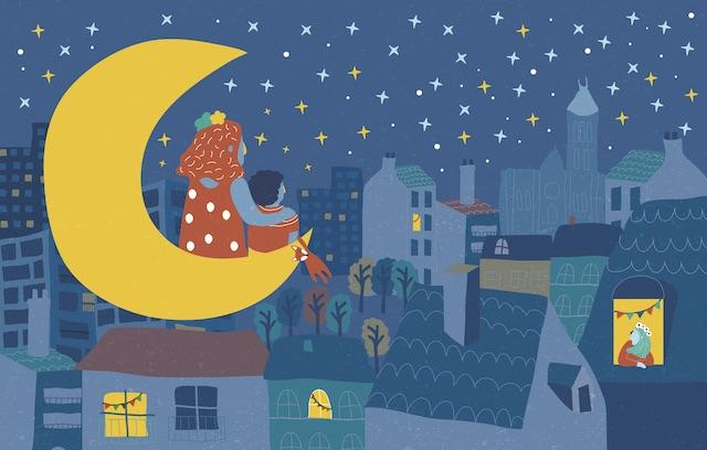"""Le conte """"La nuit tombe, Maman rêve"""", écrit par trois habitantes de Seine-Saint-Denis, raconte la soirée d'un petit garçon et de sa maman à Saint-Denis / © Eve Gentilhomme"""