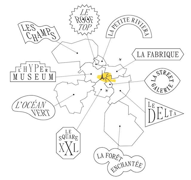Les 10 quartiers du Guide des Grands Parisiens par Enlarge your Paris et les Magasins généraux /  © Enlarge your Paris x Magasins généraux
