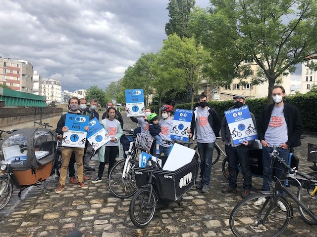 Le balisage du RER Vélo le 19 mai dans le Grand Paris / © Melina Gaffré - Twitter