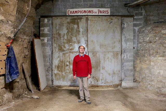 Angel Moioli, l'un des derniers champignonnistes grand-parisiens produit des champignons de Paris à Evecquemont / © Mélanie Rostagnat