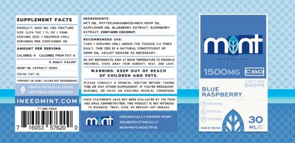 MINT BLUE CBD RASBERRY TINCTURE 1500MG