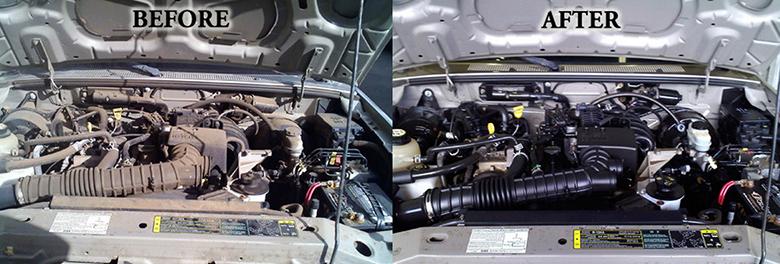 Trước và sau khi vệ sinh khoang máy xe ô tô